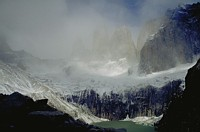 torres del paine with fog